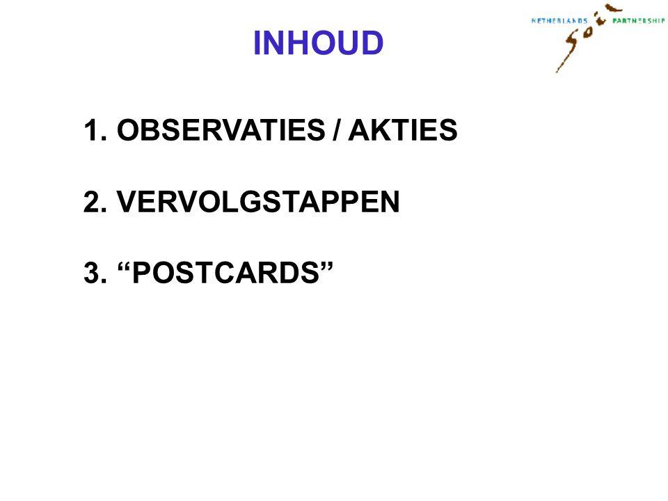 INHOUD 1. OBSERVATIES / AKTIES 2. VERVOLGSTAPPEN 3. POSTCARDS