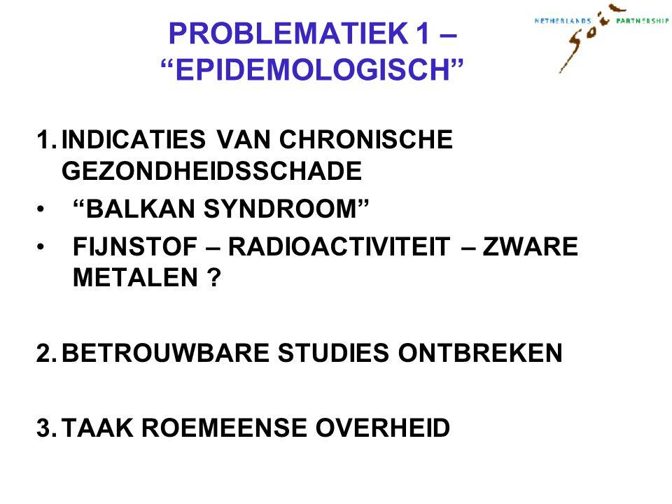 PROBLEMATIEK 1 – EPIDEMOLOGISCH 1.INDICATIES VAN CHRONISCHE GEZONDHEIDSSCHADE BALKAN SYNDROOM FIJNSTOF – RADIOACTIVITEIT – ZWARE METALEN .