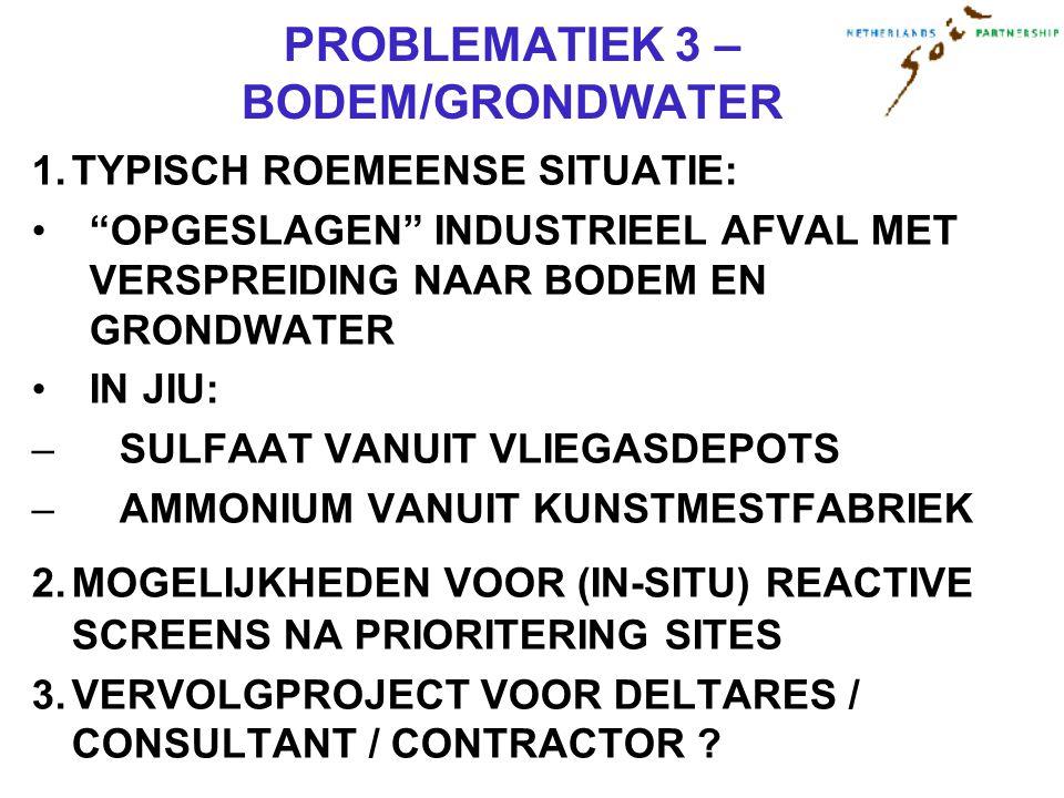 PROBLEMATIEK 3 – BODEM/GRONDWATER 1.TYPISCH ROEMEENSE SITUATIE: OPGESLAGEN INDUSTRIEEL AFVAL MET VERSPREIDING NAAR BODEM EN GRONDWATER IN JIU: –SULFAAT VANUIT VLIEGASDEPOTS –AMMONIUM VANUIT KUNSTMESTFABRIEK 2.MOGELIJKHEDEN VOOR (IN-SITU) REACTIVE SCREENS NA PRIORITERING SITES 3.VERVOLGPROJECT VOOR DELTARES / CONSULTANT / CONTRACTOR