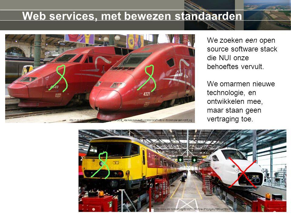 Web services, met bewezen standaarden http://www.bnr.nl/incoming/621827-1301/fyra-578.jpg/ALTERNATES/i/Fyra-578.jpg http://1.bp.blogspot.com/-Z8vfA9SmoOg/T84rGCE_XaI/AAAAAAAABLM/Wp2nXaTvrEc/s1600/Amsterdam+086.jpg We zoeken een open source software stack die NUI onze behoeftes vervult.