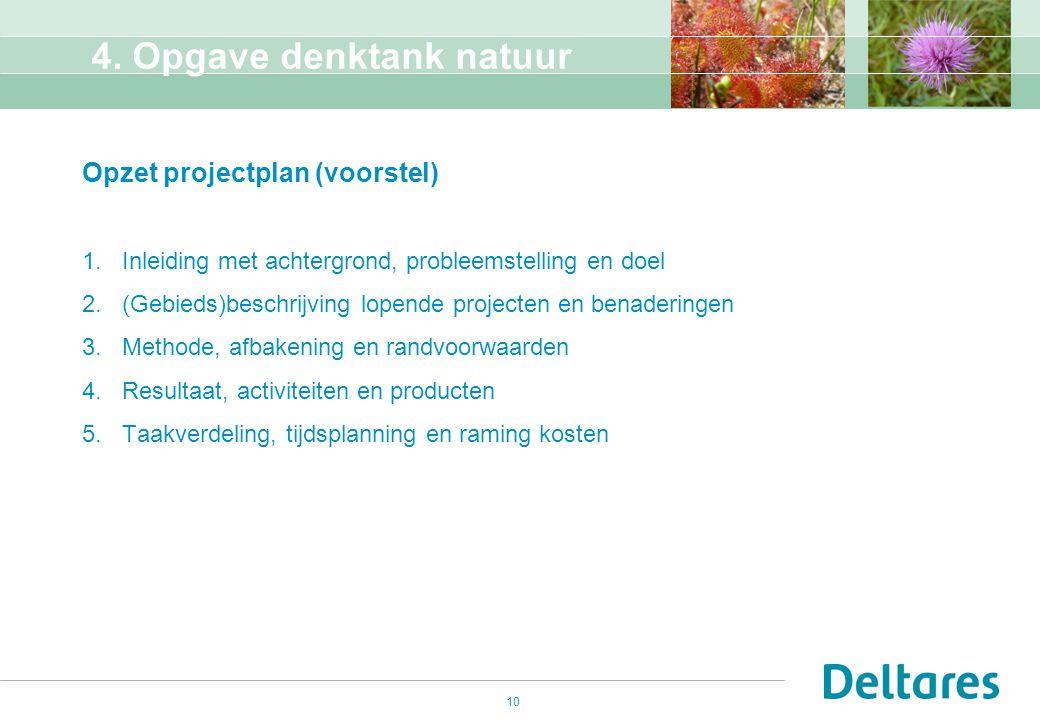 10 4. Opgave denktank natuur Opzet projectplan (voorstel) 1.Inleiding met achtergrond, probleemstelling en doel 2.(Gebieds)beschrijving lopende projec