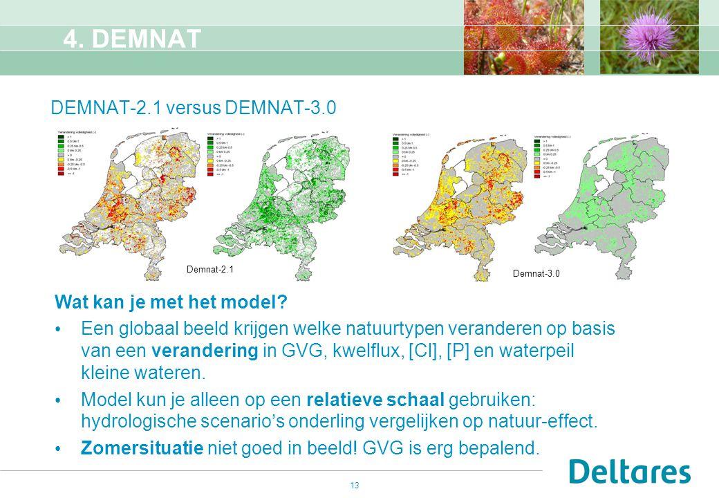 13 DEMNAT-2.1 versus DEMNAT-3.0 Wat kan je met het model? Een globaal beeld krijgen welke natuurtypen veranderen op basis van een verandering in GVG,