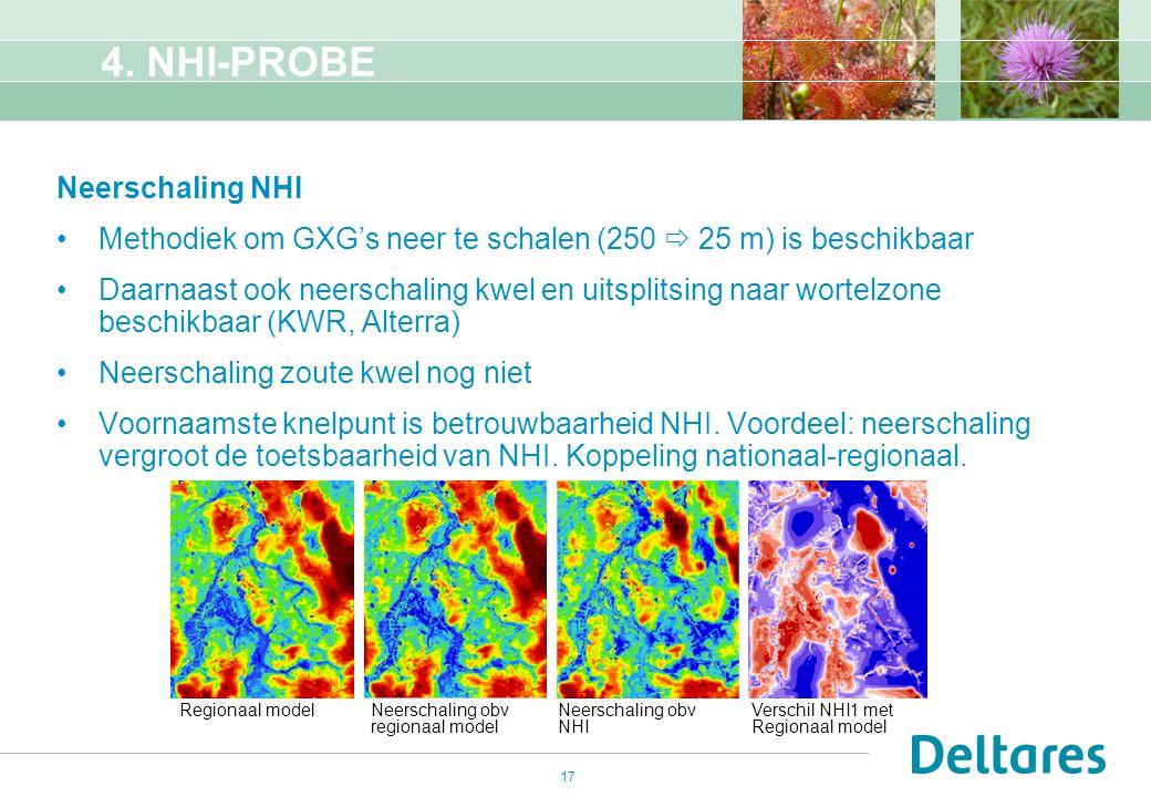 17 4. NHI-PROBE Neerschaling NHI Methodiek om GXG's neer te schalen (250  25 m) is beschikbaar Daarnaast ook neerschaling kwel en uitsplitsing naar w