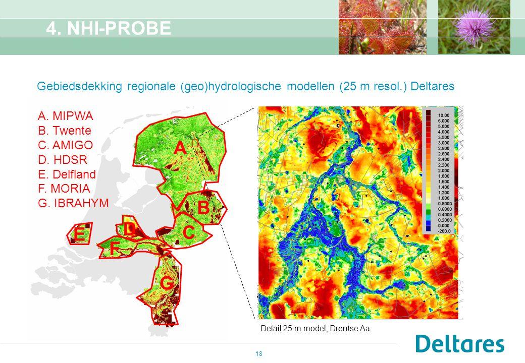 18 4. NHI-PROBE Gebiedsdekking regionale (geo)hydrologische modellen (25 m resol.) Deltares Detail 25 m model, Drentse Aa A B C D E F A. MIPWA B. Twen