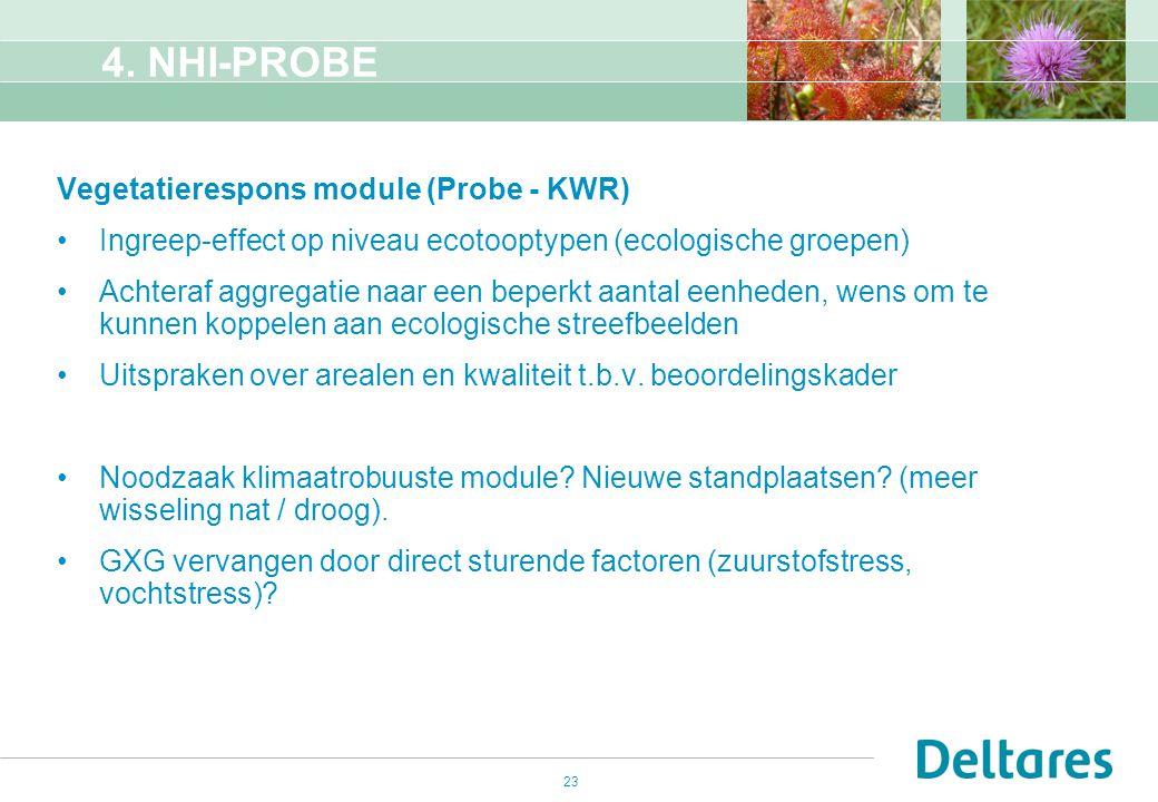 23 4. NHI-PROBE Vegetatierespons module (Probe - KWR) Ingreep-effect op niveau ecotooptypen (ecologische groepen) Achteraf aggregatie naar een beperkt