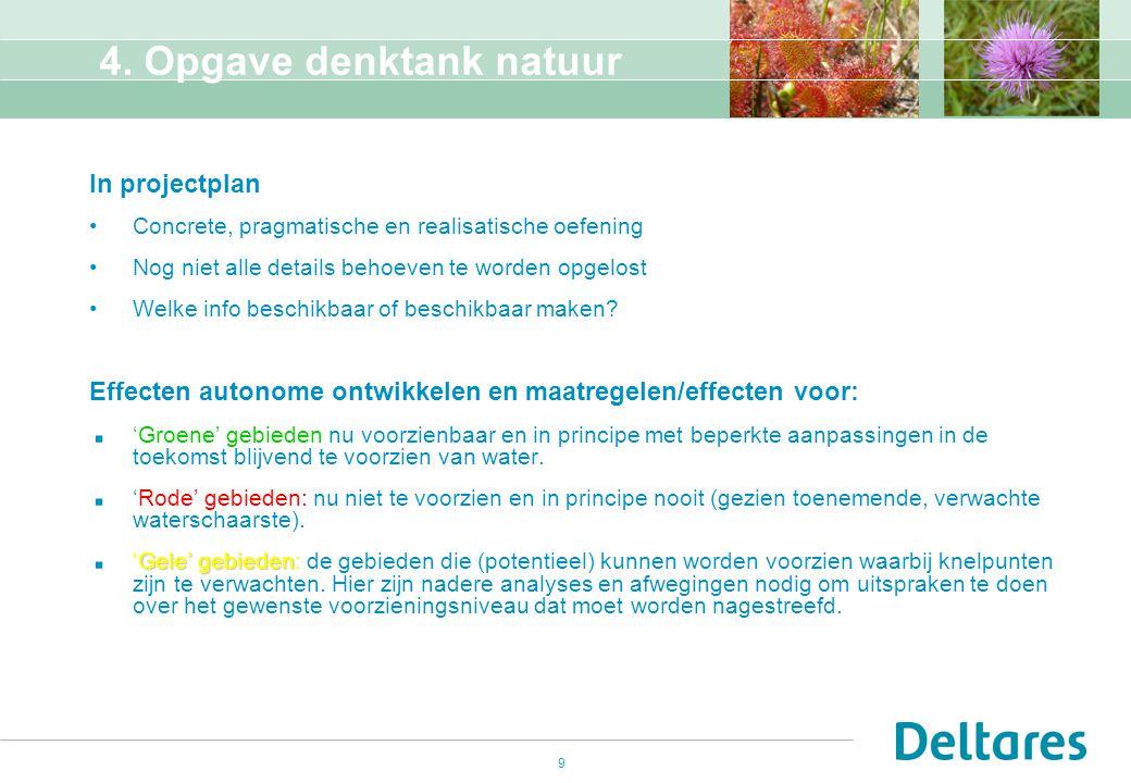 9 4. Opgave denktank natuur In projectplan Concrete, pragmatische en realisatische oefening Nog niet alle details behoeven te worden opgelost Welke in