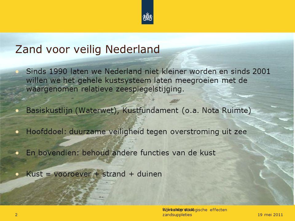 Rijkswaterstaat Workshop ecologische effecten zandsuppleties219 mei 2011 Zand voor veilig Nederland Sinds 1990 laten we Nederland niet kleiner worden