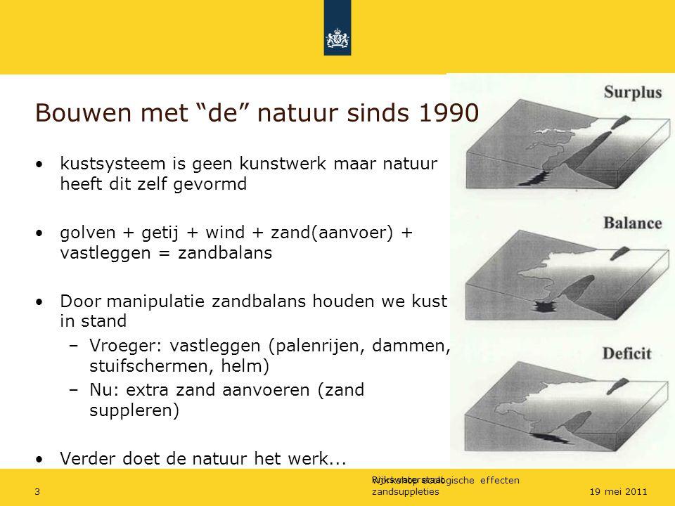 """Rijkswaterstaat Workshop ecologische effecten zandsuppleties319 mei 2011 Bouwen met """"de"""" natuur sinds 1990 kustsysteem is geen kunstwerk maar natuur h"""