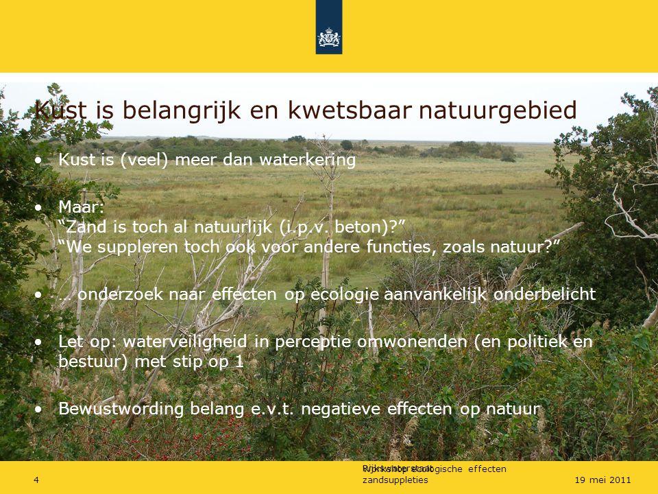 Rijkswaterstaat Workshop ecologische effecten zandsuppleties419 mei 2011 Kust is belangrijk en kwetsbaar natuurgebied Kust is (veel) meer dan waterker
