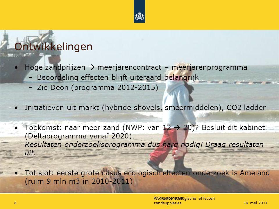 Rijkswaterstaat Workshop ecologische effecten zandsuppleties619 mei 2011 Ontwikkelingen Hoge zandprijzen  meerjarencontract – meerjarenprogramma –Beo