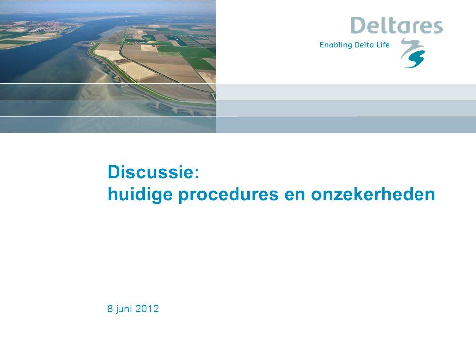 8 juni 2012 Discussie: huidige procedures en onzekerheden