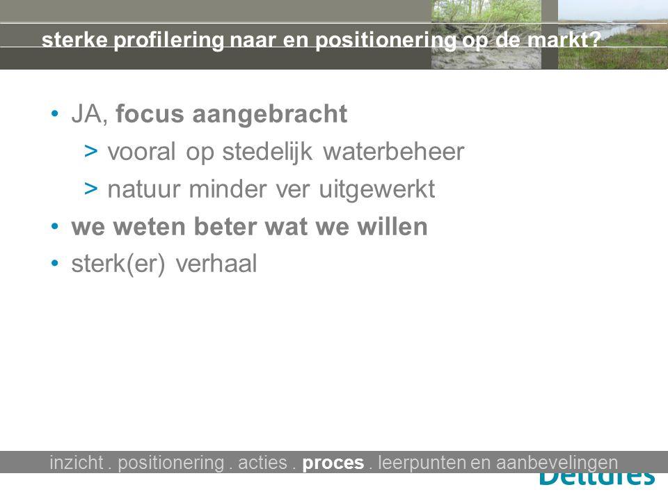 JA, focus aangebracht > vooral op stedelijk waterbeheer > natuur minder ver uitgewerkt we weten beter wat we willen sterk(er) verhaal inzicht. positio
