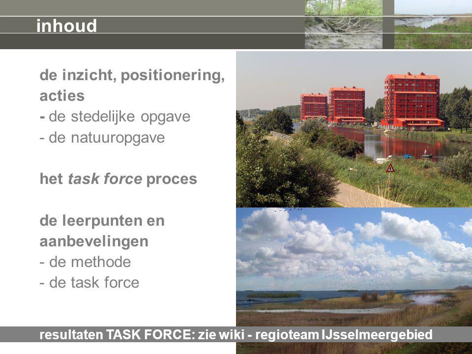 de inzicht, positionering, acties - de stedelijke opgave - de natuuropgave het task force proces de leerpunten en aanbevelingen - de methode - de task