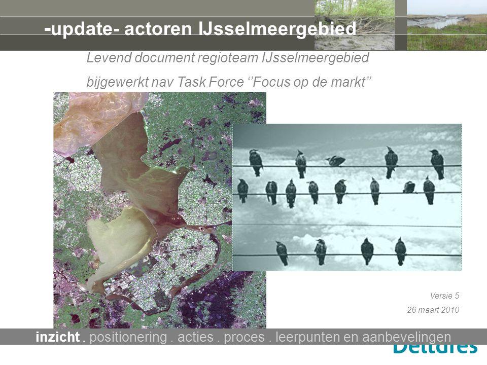- update- actoren IJsselmeergebied Levend document regioteam IJsselmeergebied bijgewerkt nav Task Force ''Focus op de markt'' Versie 5 26 maart 2010 i