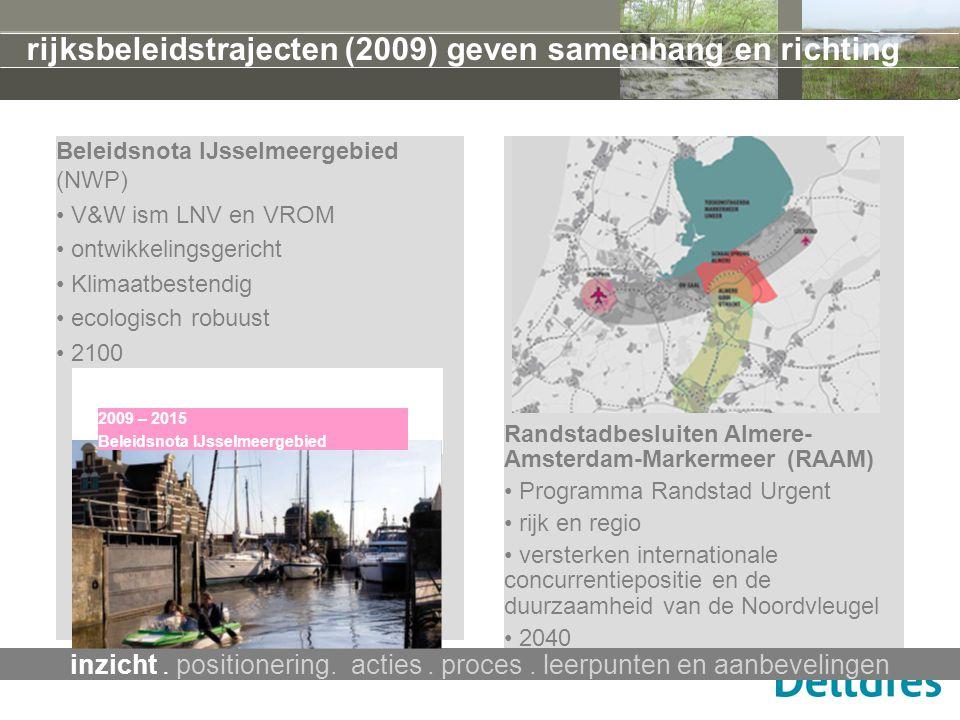Beleidsnota IJsselmeergebied (NWP) V&W ism LNV en VROM ontwikkelingsgericht Klimaatbestendig ecologisch robuust 2100 rijksbeleidstrajecten (2009) geve