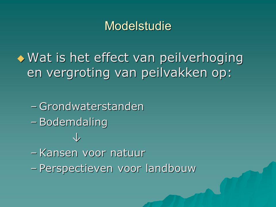 Modelstudie  Wat is het effect van peilverhoging en vergroting van peilvakken op: –Grondwaterstanden –Bodemdaling ↓ –Kansen voor natuur –Perspectieve