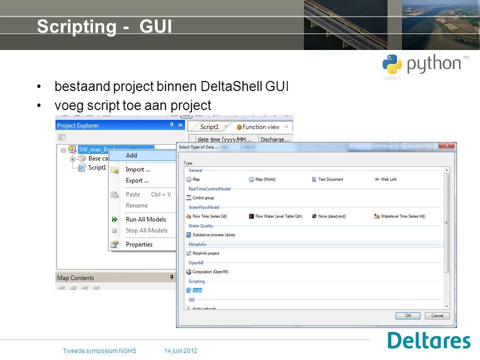 14 juni 2012Tweede symposium NGHS Scripting - GUI bestaand project binnen DeltaShell GUI voeg script toe aan project