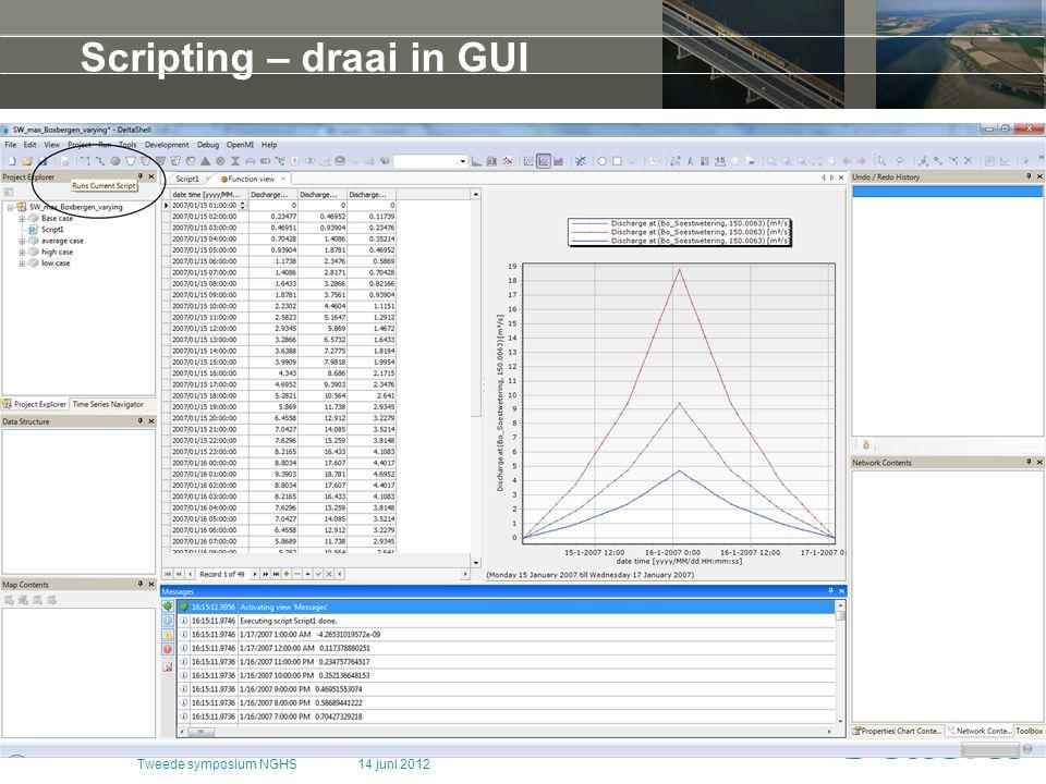 14 juni 2012Tweede symposium NGHS Scripting – draai in GUI