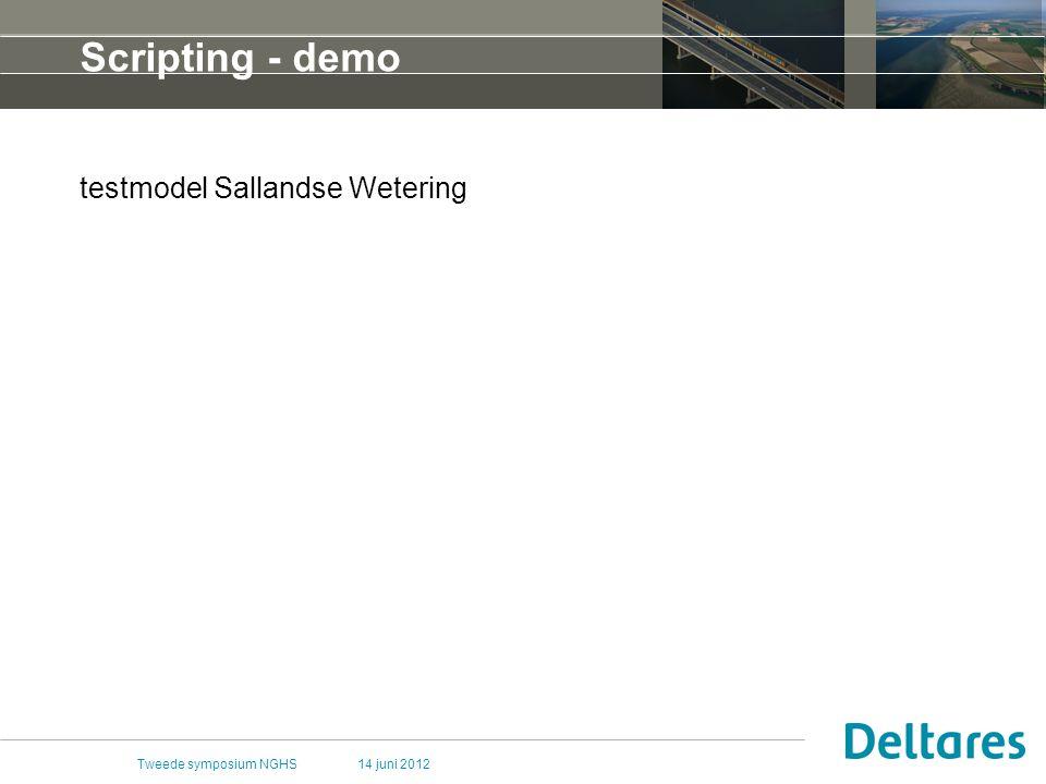 14 juni 2012Tweede symposium NGHS Scripting - demo testmodel Sallandse Wetering