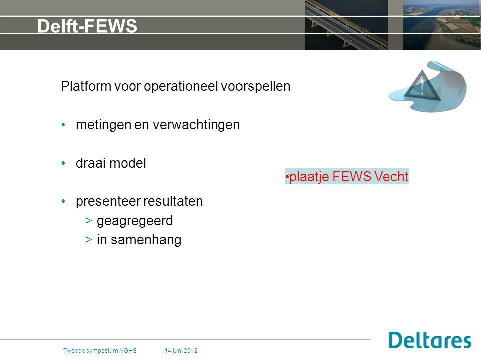 14 juni 2012Tweede symposium NGHS Delft-FEWS Platform voor operationeel voorspellen metingen en verwachtingen draai model presenteer resultaten >geagregeerd >in samenhang plaatje FEWS Vecht