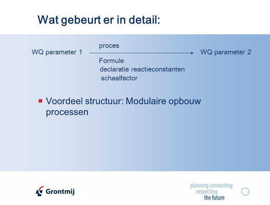 Wat gebeurt er in detail: WQ parameter 1WQ parameter 2 proces Formule declaratie reactieconstanten schaalfactor  Voordeel structuur: Modulaire opbouw