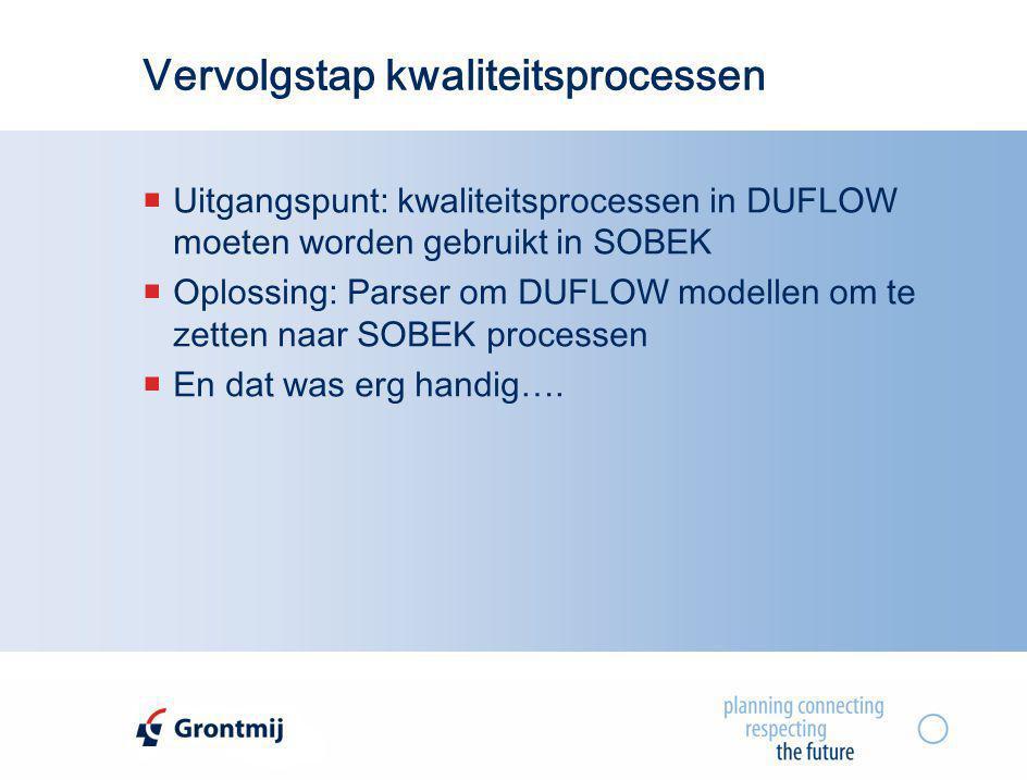 Vervolgstap kwaliteitsprocessen  Uitgangspunt: kwaliteitsprocessen in DUFLOW moeten worden gebruikt in SOBEK  Oplossing: Parser om DUFLOW modellen o