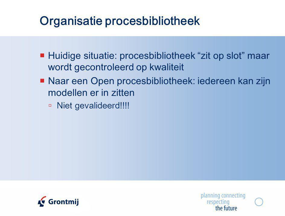 """Organisatie procesbibliotheek  Huidige situatie: procesbibliotheek """"zit op slot"""" maar wordt gecontroleerd op kwaliteit  Naar een Open procesbiblioth"""
