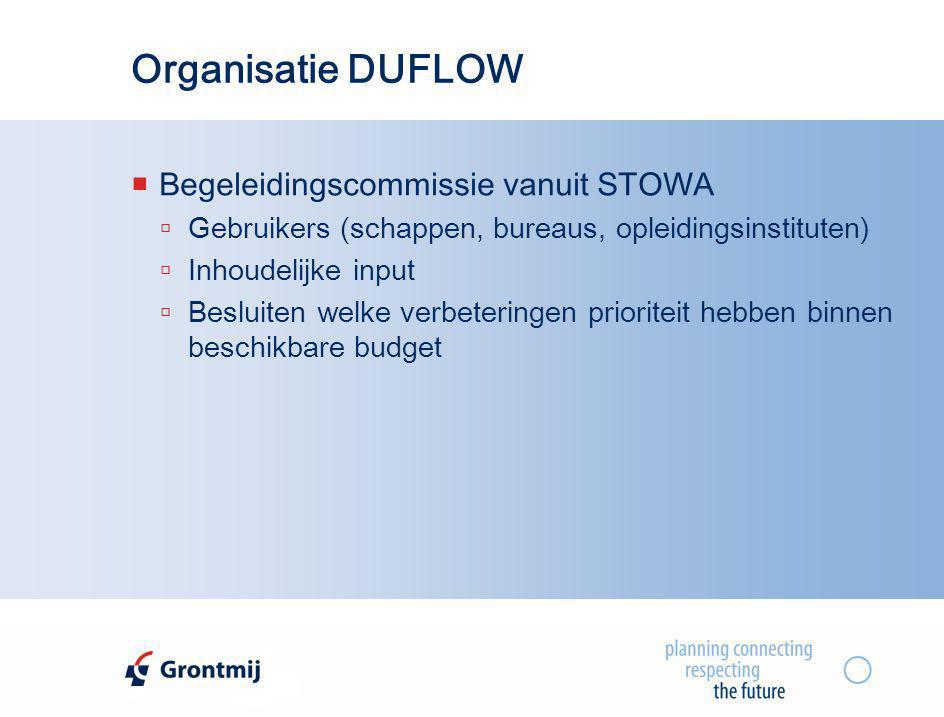 Organisatie DUFLOW  Begeleidingscommissie vanuit STOWA  Gebruikers (schappen, bureaus, opleidingsinstituten)  Inhoudelijke input  Besluiten welke