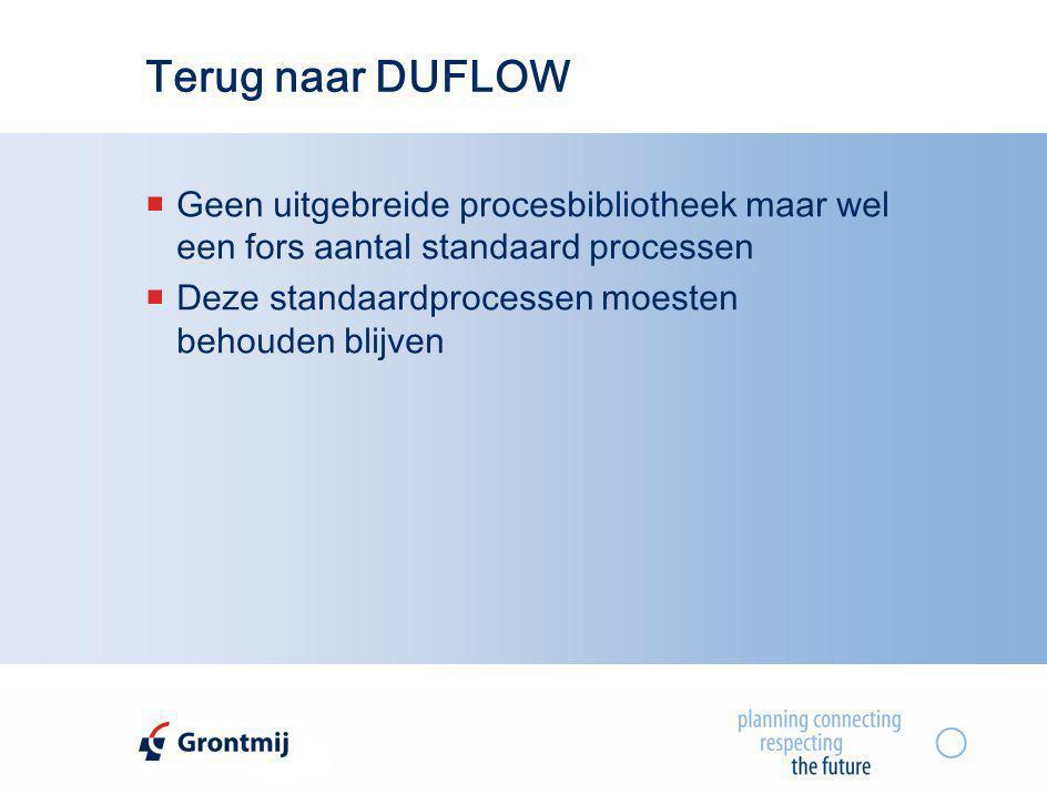 Terug naar DUFLOW  Geen uitgebreide procesbibliotheek maar wel een fors aantal standaard processen  Deze standaardprocessen moesten behouden blijven