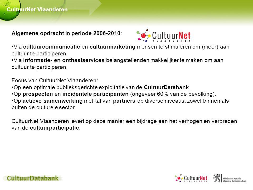 Algemene opdracht in periode 2006-2010: Via cultuurcommunicatie en cultuurmarketing mensen te stimuleren om (meer) aan cultuur te participeren. Via in