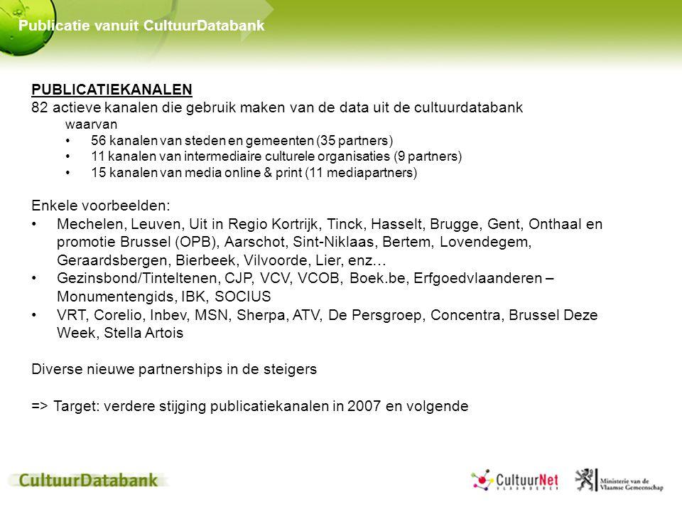 PUBLICATIEKANALEN 82 actieve kanalen die gebruik maken van de data uit de cultuurdatabank waarvan 56 kanalen van steden en gemeenten (35 partners) 11