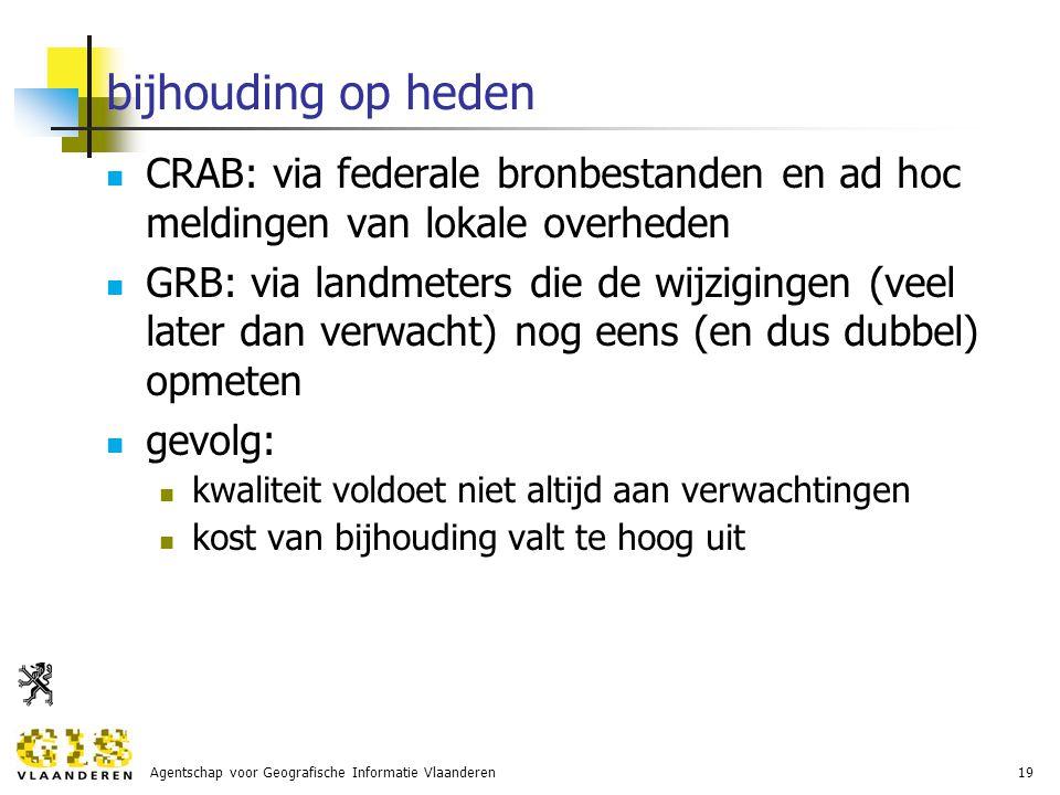 Agentschap voor Geografische Informatie Vlaanderen19 bijhouding op heden CRAB: via federale bronbestanden en ad hoc meldingen van lokale overheden GRB: via landmeters die de wijzigingen (veel later dan verwacht) nog eens (en dus dubbel) opmeten gevolg: kwaliteit voldoet niet altijd aan verwachtingen kost van bijhouding valt te hoog uit