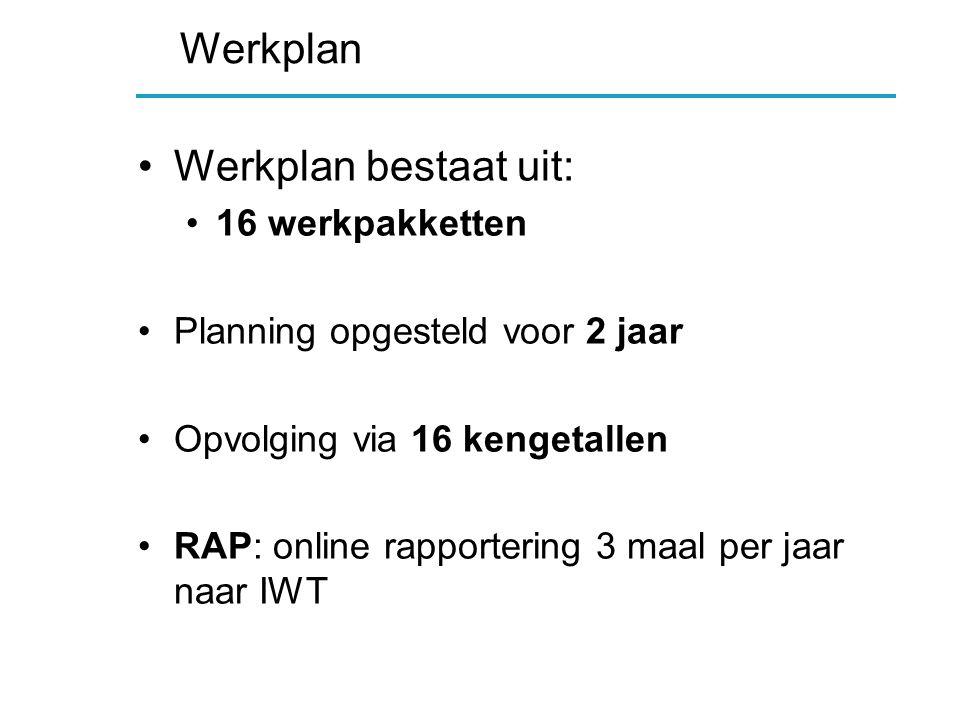 Werkplan Werkplan bestaat uit: 16 werkpakketten Planning opgesteld voor 2 jaar Opvolging via 16 kengetallen RAP: online rapportering 3 maal per jaar naar IWT