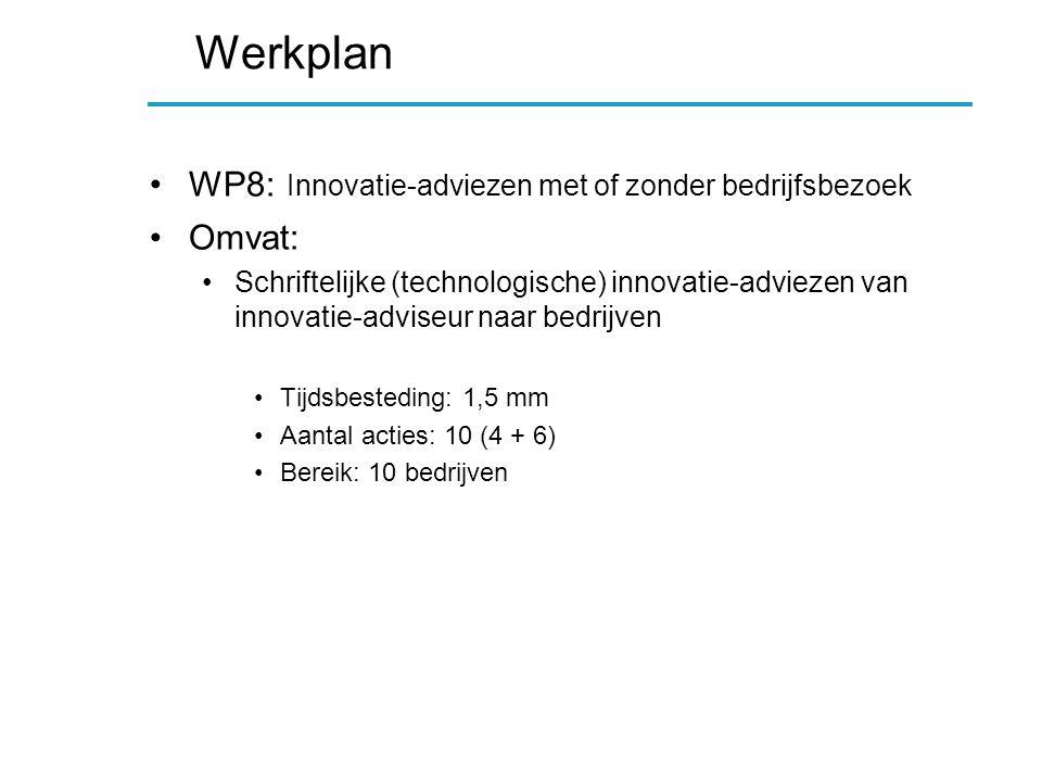 Werkplan WP8: Innovatie-adviezen met of zonder bedrijfsbezoek Omvat: Schriftelijke (technologische) innovatie-adviezen van innovatie-adviseur naar bedrijven Tijdsbesteding: 1,5 mm Aantal acties: 10 (4 + 6) Bereik: 10 bedrijven