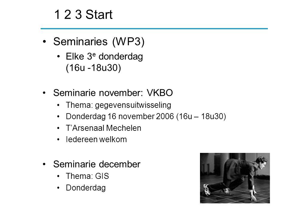 1 2 3 Start Seminaries (WP3) Elke 3 e donderdag (16u -18u30) Seminarie november: VKBO Thema: gegevensuitwisseling Donderdag 16 november 2006 (16u – 18u30) T'Arsenaal Mechelen Iedereen welkom Seminarie december Thema: GIS Donderdag