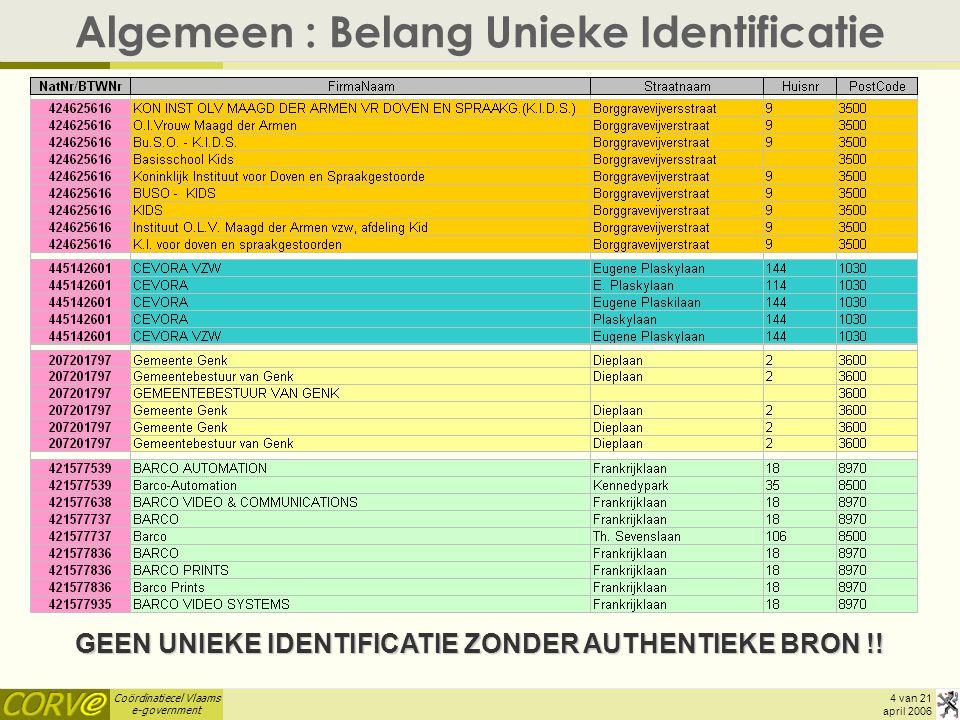 Coördinatiecel Vlaams e-government 15 van 21 april 2006 Concreet Aanbod (3) : Webservices  VKBO – Webservices (= componenten voor proces-integratie !!) –ZoekOnderneming (in ontwikkeling, cf.
