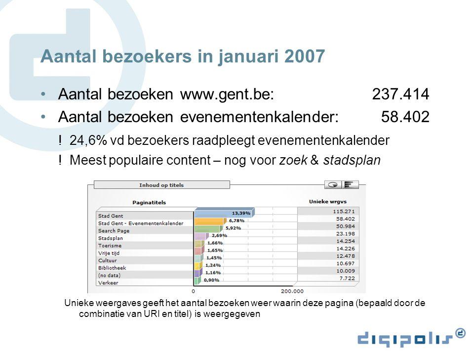 Aantal bezoekers in januari 2007 Aantal bezoeken www.gent.be: 237.414 Aantal bezoeken evenementenkalender: 58.402 .
