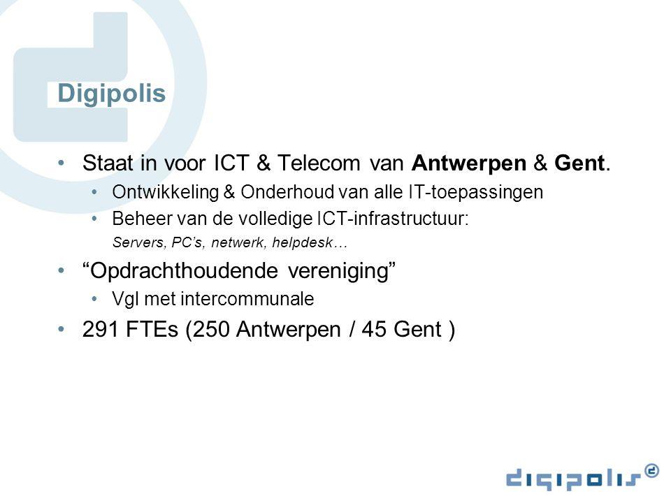 Digipolis Staat in voor ICT & Telecom van Antwerpen & Gent.