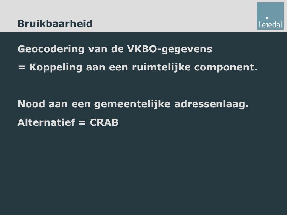 Bruikbaarheid Geocodering van de VKBO-gegevens = Koppeling aan een ruimtelijke component. Nood aan een gemeentelijke adressenlaag. Alternatief = CRAB
