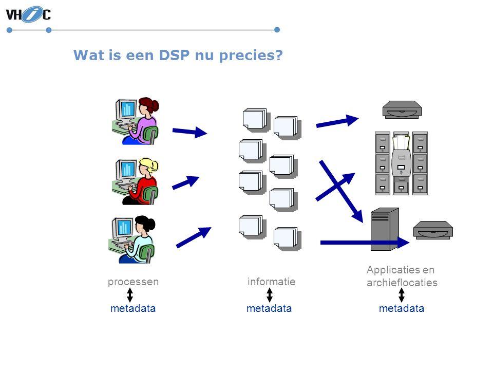 Wat is een DSP nu precies? processeninformatie Applicaties en archieflocaties metadata