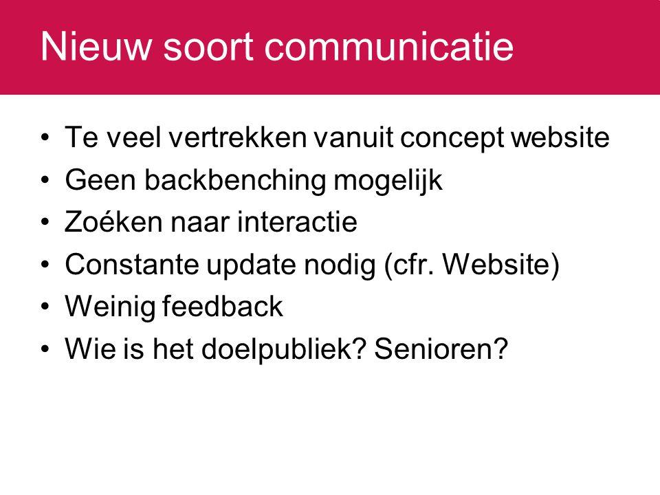 Nieuw soort communicatie Te veel vertrekken vanuit concept website Geen backbenching mogelijk Zoéken naar interactie Constante update nodig (cfr.