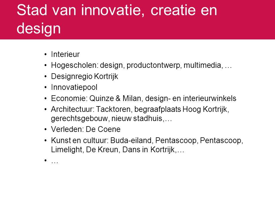 Stad van innovatie, creatie en design Interieur Hogescholen: design, productontwerp, multimedia, … Designregio Kortrijk Innovatiepool Economie: Quinze