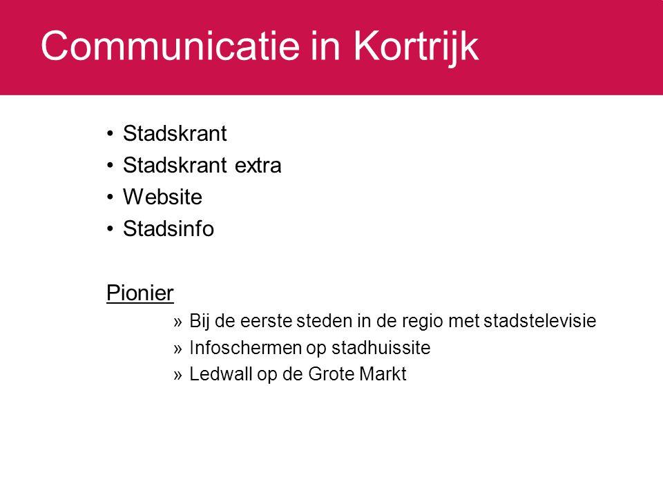 Communicatie in Kortrijk Stadskrant Stadskrant extra Website Stadsinfo Pionier »Bij de eerste steden in de regio met stadstelevisie »Infoschermen op stadhuissite »Ledwall op de Grote Markt