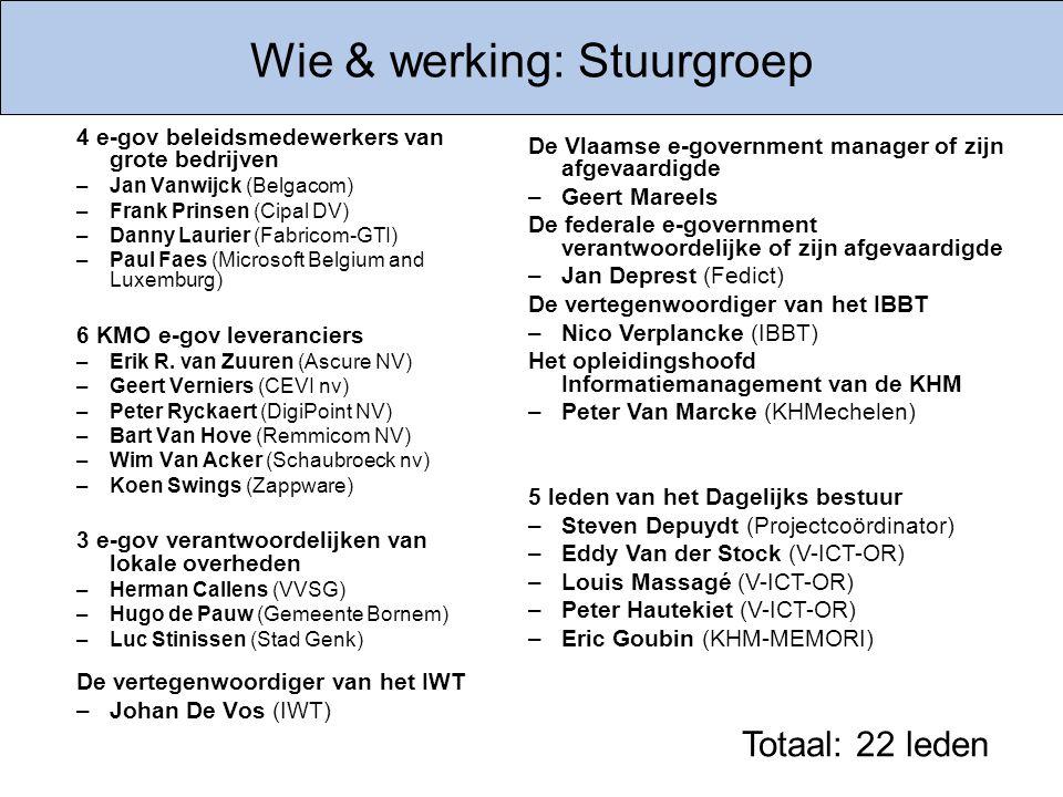 Wie & werking: Stuurgroep 4 e-gov beleidsmedewerkers van grote bedrijven –Jan Vanwijck (Belgacom) –Frank Prinsen (Cipal DV) –Danny Laurier (Fabricom-G