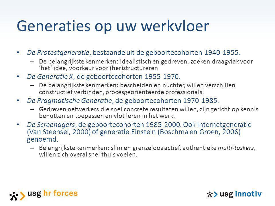 Generaties op uw werkvloer De Protestgeneratie, bestaande uit de geboortecohorten 1940-1955. – De belangrijkste kenmerken: idealistisch en gedreven, z