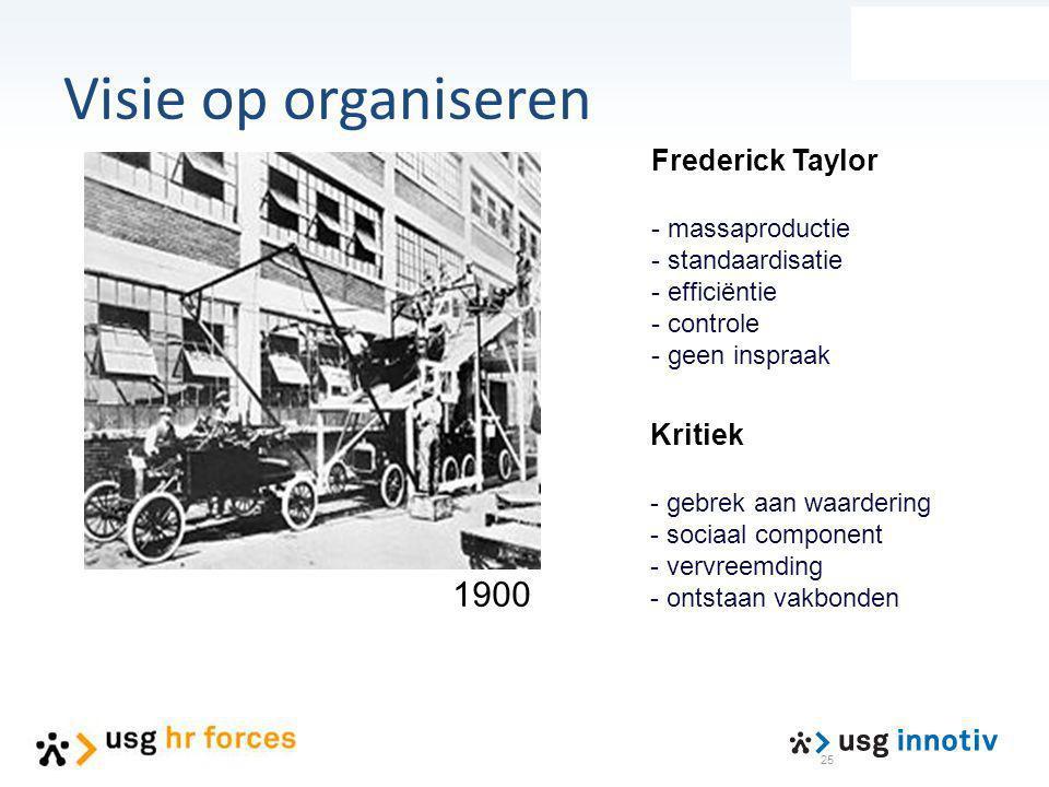 25 Frederick Taylor - massaproductie - standaardisatie - efficiëntie - controle - geen inspraak 1900 Kritiek - gebrek aan waardering - sociaal compone