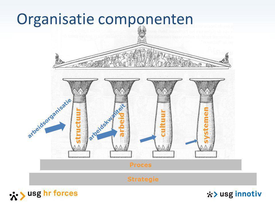 Strategie Proces structuur arbeid cultuur systemen arbeidsorganisatie arbeidskwaliteit Organisatie componenten