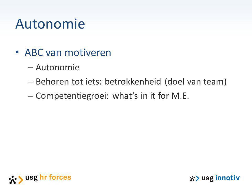 Autonomie ABC van motiveren – Autonomie – Behoren tot iets: betrokkenheid (doel van team) – Competentiegroei: what's in it for M.E.
