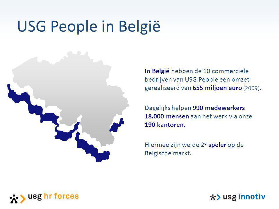 USG People in België In België hebben de 10 commerciële bedrijven van USG People een omzet gerealiseerd van 655 miljoen euro (2009). Dagelijks helpen