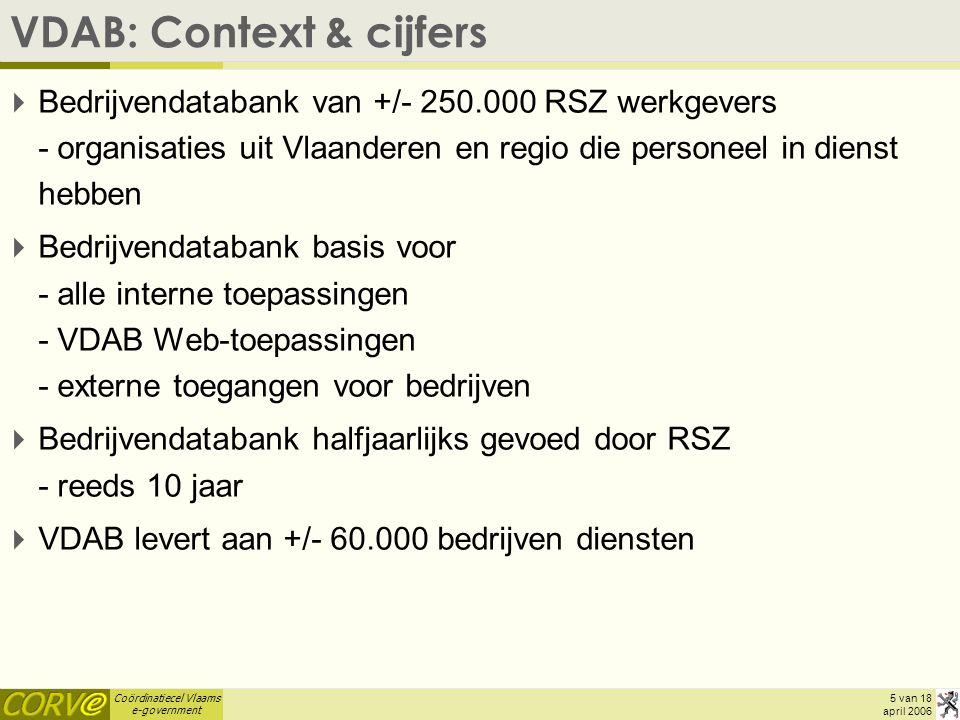 Coördinatiecel Vlaams e-government 5 van 18 april 2006 VDAB: Context & cijfers  Bedrijvendatabank van +/- 250.000 RSZ werkgevers - organisaties uit Vlaanderen en regio die personeel in dienst hebben  Bedrijvendatabank basis voor - alle interne toepassingen - VDAB Web-toepassingen - externe toegangen voor bedrijven  Bedrijvendatabank halfjaarlijks gevoed door RSZ - reeds 10 jaar  VDAB levert aan +/- 60.000 bedrijven diensten